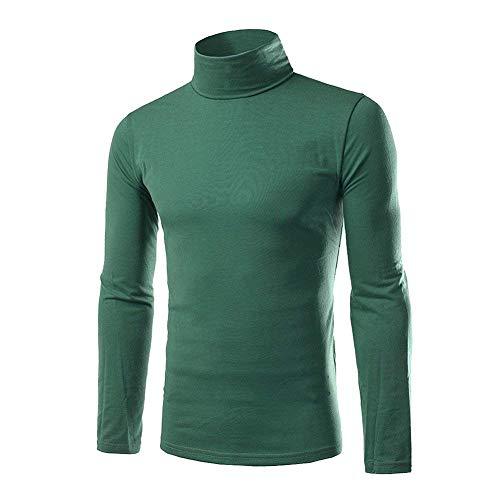 HaiDean mannen Longsleeve coltrui shirt met lange mouwen coltrui moderne casual slim fit effen kleur t-shirt zwart