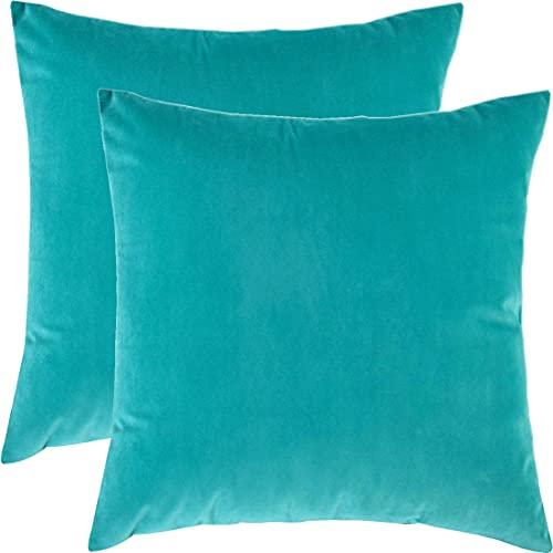 BlueCosto (2_Turquesa Terciopelo Fundas de Cojines Funda de cojín para sofá Almohada Dormitorio Coche Suave Decoración 45 x 45 cm