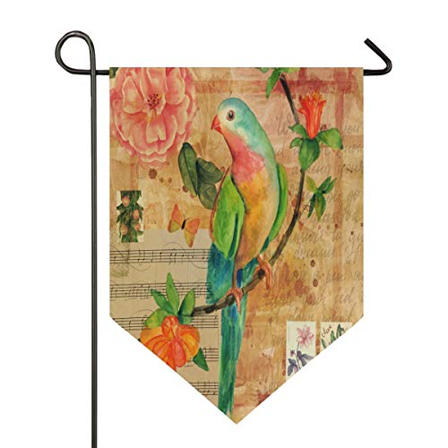 XiangHeFu Tuin Vlag Muziek Letter Vogel Bloem Art Patroon 12x18.5 Inches (12