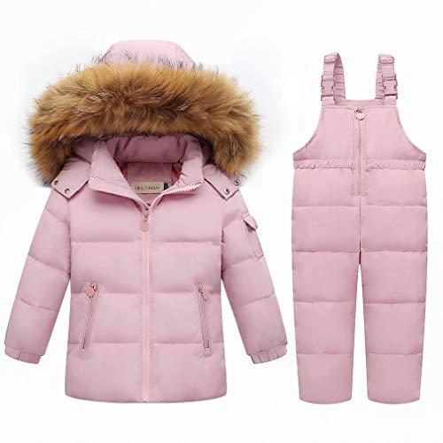 Unisex bambino Snowsuit Invernale Piumino con Cappuccio di pelliccia Caldo Bambino Tuta da Neve 2 Pezzi