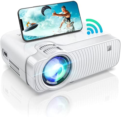 BOMAKER WiFi Mini Projector for iPhone, Portable Projector for Outdoor Movies, Outdoor Movie Projector Full HD 1080P Supported, Compatible for TV Stick, Android, HDMI, PCs, PS5, DVD Player