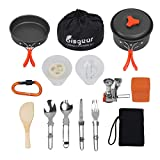 Bisgear 16 Pcs Camping Cookware Stove Carabiner Folding Spork Set Outdoor Camping Hiking Backpacking...