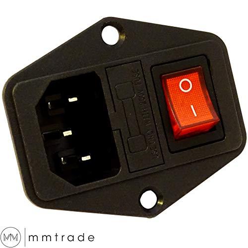 mmtrade | Kaltgeräte Einbau Stecker Buchse C14 Kaltgerätebuchse mit beleuchteten roten Schalter inkl. 2x Sicherung Audio Schaltungen 6A/250V | für Kaltgerätekabel Netzkabel C13