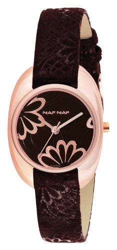 Naf Naf N10192G-101 - Reloj de Cuarzo para Mujer, con Correa de Cuero, Color Negro
