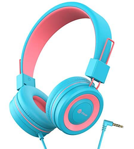 Kopfhörer Kinder, Verstellbares Stirnband, Faltbare, Entwirrte Drähte, 3.5 mm Aux Jack, 85dB Volume Limited, KinderKopfhörer auf Ohr