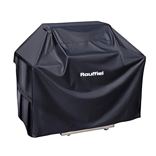 Rouffiel BBQ Grill Cover, 58 inch Waterproof Grill Cover, Heavy Duty Gas Grill for Weber, Brinkmann, Char Broil, Jenn Air - Outdoor Gas Grill Burner Covers - UV Resistant - Rip Proof with Storage Bag Covers Grill