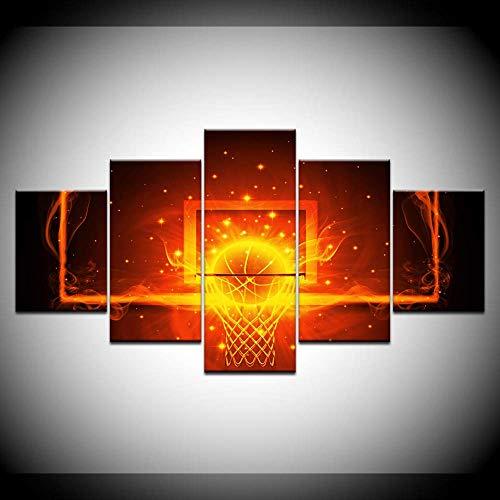 DGGDVP Plakfolie voor basketbals, 5 panelen, modern modulaire posters, kunst, canvas, schilderij voor woonkamer, wooncultuur 40x60cmx2,40x80cmx2,40x100cmx1 Met frame.