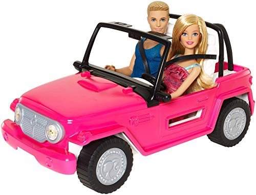 Barbie Jeep da Spiaggia Playset con Barbie e Ken e...