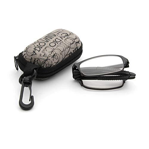 BodyGo Faltbare Lesebrillen Sehstärke Lesehilfe Augenoptik Brillen Mini Lesebrille zusammenklappbar mit Etui 1,0 bis + 3,5