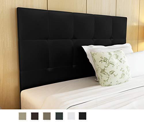 Dormidan- Cabecero Oslo en Polipiel con Acolchado capitoné, 150x115cm (Cama 150, Negro) …