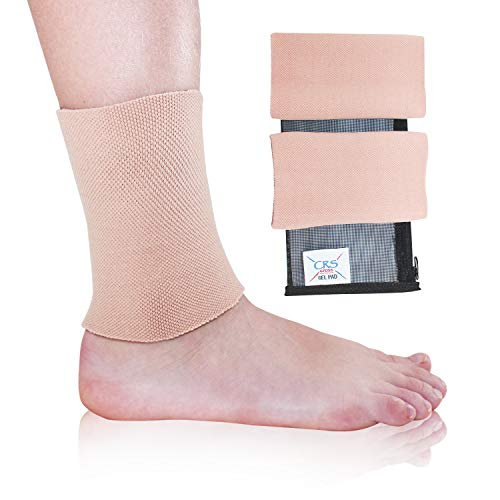 CRS Cross Ankle Gel Sleeves - Padded Skate Socks Ankle Protection (Figure Skating, Hockey, Roller, Inline, Riding, ski or Equestrian Tall Boots) (2 Discs + 2 Gel Sleeves)