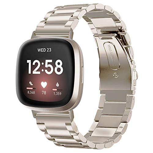 V-MORO Compatible con Fitbit Versa 3/Fitbit Sense Correa para hombres y mujeres, correa de repuesto metal acero inoxidable compatible 3/Sense Smartwatch cierre plegable doble botón