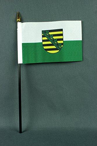 Buddel-Bini Kleine Tischflagge Sachsen 15x10 cm mit 30 cm Mast aus PVC-Rohr, ohne Ständerfuß