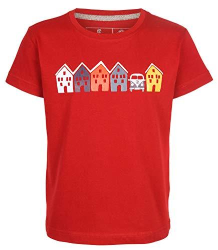 Elkline Kinder T-Shirt Tiny House mit VW T1 Bulli Print, Farbe:chilipepperred, Größe:140/146