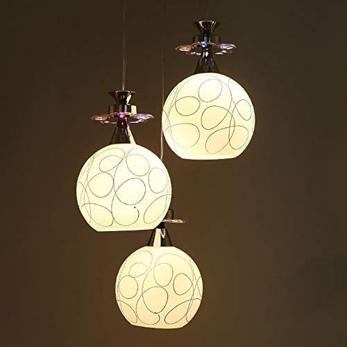XXYHYQHJD Lámpara de Techo LED Bola Redonda de Aluminio Ligero Caliente de Vidrio Blanco de Plata de Acero Inoxidable lámpara del Dormitorio Moderno Simple Colgante de luz