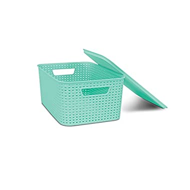 HOMZ Lid, Storage, Stackable, Small, Plastic, Light Blue Woven Bin