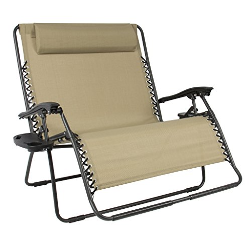 Best Choice Products 2-Person Double Wide Adjustable Folding Steel Mesh Zero Gravity Lounge Recliner Chair for Patio, Lawn, Balcony, Backyard, Beach, Outdoor Sports w/Cup Holders -Beige
