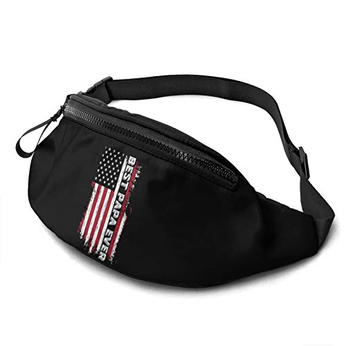 Moaulu Fanny Pack for Men Women,Best Papa Ever USA Flag Casual Outdoor Waist Bag for Workout Travel Hiking