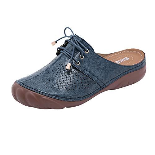 Xmiral Damen Sandalen Soft Sole Runde Zehenkappe Aushöhlen Atmungsaktive Sommerschuhe Spitzenpantoffeln(42,Blau)