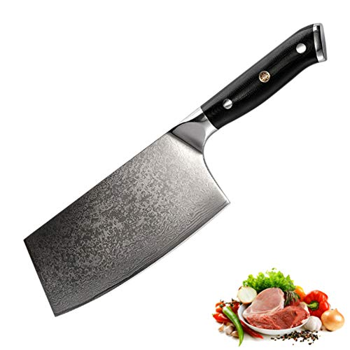 SDOKEDC Knives C1228 Chinese cleaver damascus knifes cuchillos de cocina knife profesionales kitchen knife set Meat Cleaver slicer knife coltello (black)