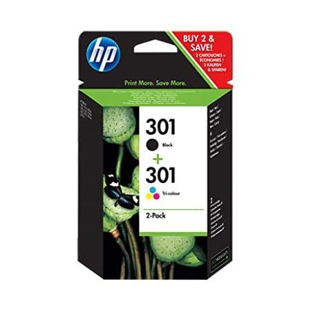 HP 301 N9J72AE, Confezione da 2 Cartucce Originali, per HP DeskJet Serie 1000, 1050 1500, 2000, 2050, 2500, 3000 e 3050, HP Envy Serie 4500 e 5500 e HP Officejet Serie 2600 e 4600, Nero e Tricromia