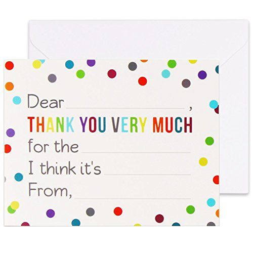 Fill in the Blank Thank You Cards with Envelopes for Kids - Confetti Dot Flat Notes - Pack of 36
