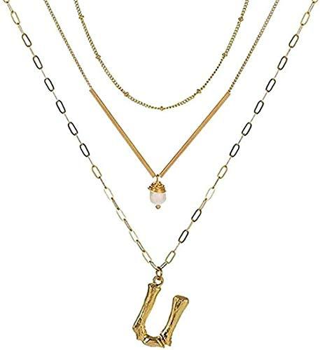 NC110 Collar Oro Metal Letra Alfabeto Colgante Collar Encanto Oro Capas Cadena de eslabones Barra de Metal Gargantilla para niñas Regalo Colgante Collar Regalo para niños YUAHJIGE