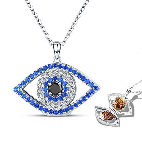 Evil Eye Sterling Silver Lockets for Women Turkish Eye Evil Eye Jewelry Good Luck Gifts Photo Locket Memory Pendant Necklace for Women Friends