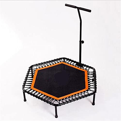 Goodvk Trampolín Cama de Salto de la Primavera elástica del trampolín de 44 Pulgadas con la Cama de Rebote Adulto con el reposabrazos Fácil de Almacenar (Color : Orange, Size : 131x110x26cm)