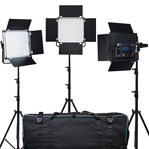 Pixel 3 Piezas 40W LED 600 Kit de Luz y con 110'' Soporte, Marco de Metal Durable, Regulable con Soporte en U y Barndoor, 3200K / 5600K,4500Lux,CRI 96+, para Estudio, Youtube Filmación
