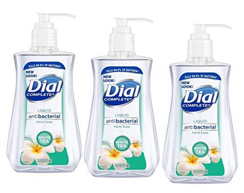 Dial Liquid Soap Anti-Bacterial White Tea 7.5 Ounce Pump (221ml) (Pack of 3)