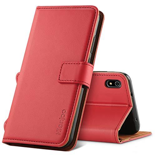 Hianjoo Hülle Kompatibel für Xiaomi Redmi 7A, Handyhülle Tasche Premium Leder Flip Wallet Hülle Kompatibel für Xiaomi Redmi 7A [Standfunktion/Kartenfächern/Magnetic Closure Snap] - Rot