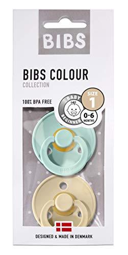 BIBS Schnuller Colour 2er Pack Größe 1 (0-6 Monate), Naturkautschuk, dänische Schnuller mit Kirschform (Mint/Beige, Größe 1 (0-6 Monate))