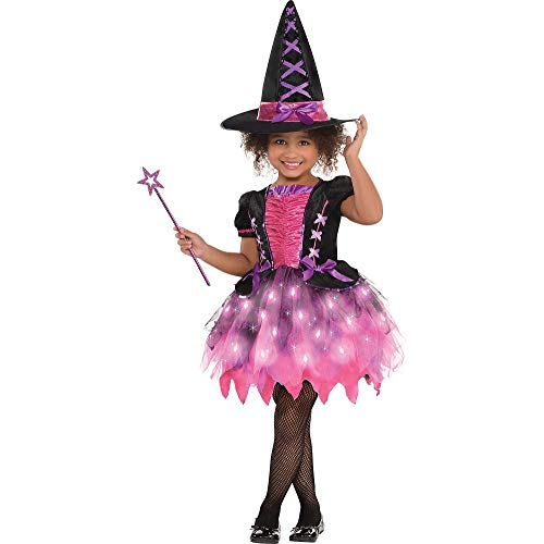 amscan 846863 Girls Light-Up Sparkle Witch Costume   Medium Size (8-10 Years Old), Black/Pink