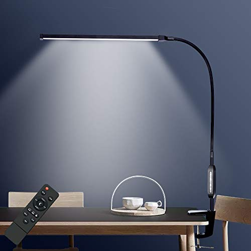 デスクライト LEDデスクスタンド 12W平面発光 調光 調色 省エネ 目に優しい電気スタンド タッチコントと遠隔操作 リモコン 360°回転 多機能アームライト PC作業・仕事・勉強・読書ランプ クランプ付き