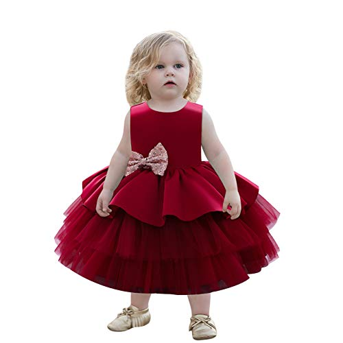 Kind Baby Mädchen Geburtstagskleid Ärmellose Pailletten Bowknot Tüllkleid Tutu Prinzessin Kleided Hochzeitsfeier Taufkleid Festzug Ballkleid Pink Rot Blau Grü Kinder Mädchen Rückenfrei Abendkleid