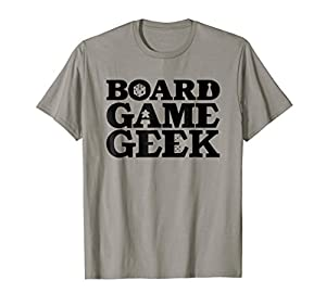 Board Game TShirt: Board Game Geek. Christmas gift idea. The text says BOARD GAME GEEK - with dice, meeple, and a pawn. Lightweight, Classic fit, Double-needle sleeve and bottom hem