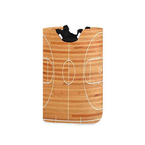 COFEIYISI Wäschesammler Wäschekorb Faltbarer Aufbewahrungskorb,Standard Grundriss auf Parkett Hintergrund Basketballplatz Spielplatz,Wäschesack - Wäschekörbe - Laundry Baskets