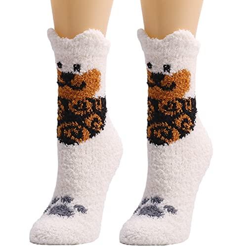 YWLINK Calcetines Termicos Invierno Mujer Calcetines Esponjosos Calcetines EláSticos Suaves Navidad Calcetines De Felpa CáLidos Calcetines Divertidos Calcetines De Estar Por Casa (Blanco, Talla única)