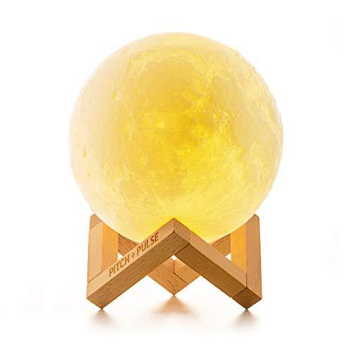 Lámpara de Luna 3D, PITCH PULSE Luz Nocturna Luna LED 15CM Control Remoto y Control Táctil 16 Colores RGB Brillo Regulable Recargable USB, Decorativa para Dormitorio Salón, Regalo para Mujeres y Niños
