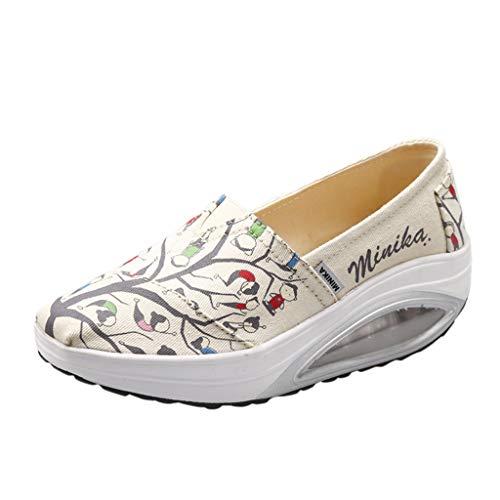 ONLT TOP Women's Mesh Platform Walking Shoes Cartoon Style Lightweight Slip-On Fitness Work Out Sneaker Shoes Beige