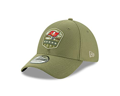 New Era NFL 2019 Salute to Service Adjustable 39Thirty 3930 Hat Cap (Tampa Bay Buccaneers, Small/Medium)