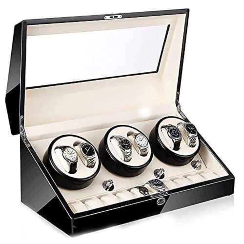 Enrolladores de Reloj 6 + 10 Rejillas Pantalla de Storgae Caja de gabinete de enrollador de Reloj mecánico Laca Brillante Estuche Giratorio de Cuero de Madera