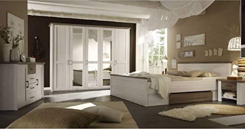 Froschkönig24 Luca 1 Schlafzimmer Komplettset Bett Kleiderschrank Set Pinie Weiß/Trüffel