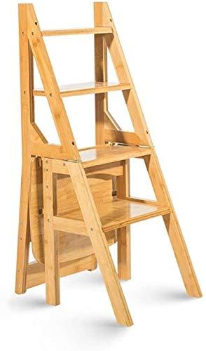 Multifuncional Escalera de Tijera Madera maciza Multifunción Silla de la escalera de la casa Cocina Cocina Dual Uso de las escaleras plegables Silla móvil 4 Pasos Escalera Taburete ascendente Escalera