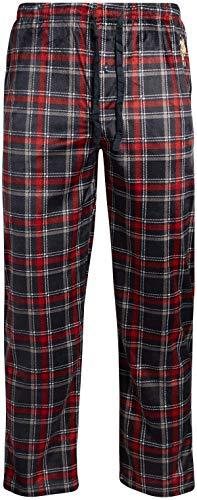 U.S. Polo Assn. Men's Ultra Soft Fleece Plaid Pajama Lounge Pants, Size Medium, Sky Captain