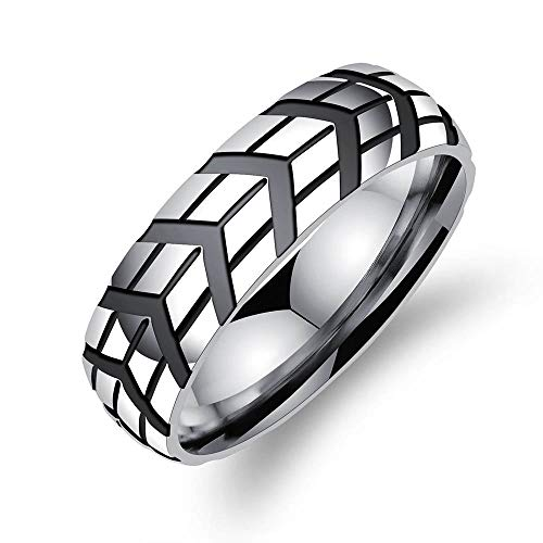 GMZDD Domineering Kreative Autoreifen Gedruckt und Einfach Und Großzügig Ring Features Kein verblassenderCharm Herrenring Titan Stahl Flut Einzel kann eingeschrieben Werden Ringe Jewelry9