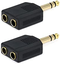 2X Stereo 6.35mm 1/4 1 Male Plug to 2 Mono Female Jack Audio Y Splitter Adapter