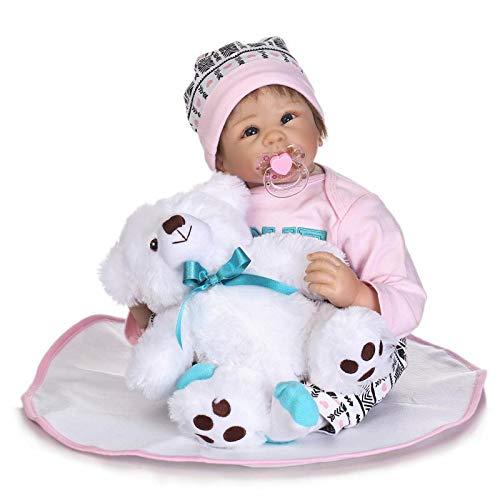 MaMaDolls Muñeca de silicona renacida realista de 22 pulgadas 55 cm suave recién nacido niños con felpa blanca niños coleccionables juguete