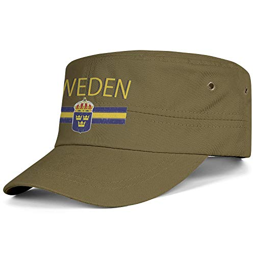 AIKYAN Sweden Flag and Country Crest Swedish Military Cap Flat Top Cadet Army Hats Graphic Ball Caps